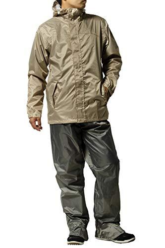 レインスーツ 上下 メンズ (透湿度:2000g/m2-24HR) (耐水圧:10000mmH2O) (フード収納) (リュックINジャケット) (防水収納バック付き) L カーキー AS7600