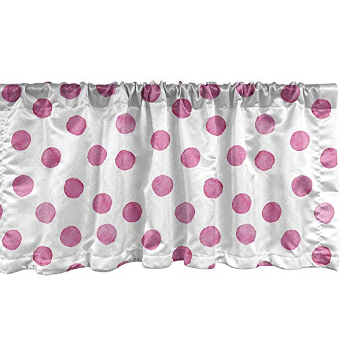 """Lunarable Polka Dot Window Valance, Sugar Pink Color Irregular Polka Dots Formed by Watercolor Paint Brush, Curtain Valance for Kitchen Bedroom Decor with Rod Pocket, 54"""" X 12"""", Pink White"""