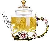 PFTHDE Tetera de vidrio-280 ml-con 6 Tazas Francia Esmalte Crisantemo Decoración de Flores Tetera de Vidrio Resistente al Calor Tetera con colador para té floreciente, Té de Hojas Sueltas