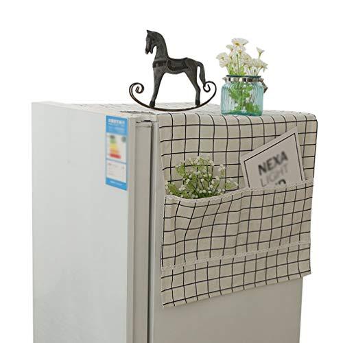 Liangzhu Multifunktion Waschmaschinen Staubschutz mit Aufbewahrungstasche Kühlschrank Staubdicht Abdeckung Gedruckt Mikrowelle Abdeckung (Weiß, 70 * 180 cm)