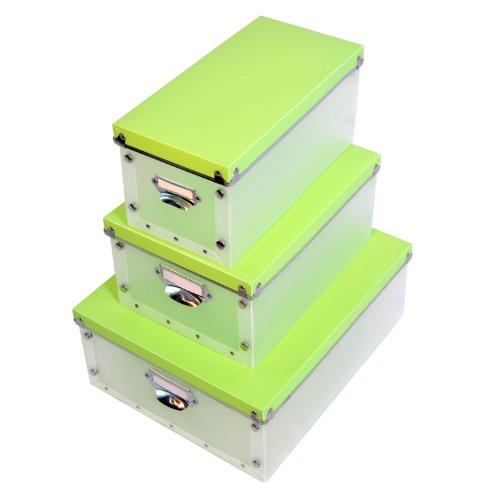 DynaSun YA0725 Lot de 3 boîtes de rangement en plastique pour objets, renforts en métal Transparent Vert