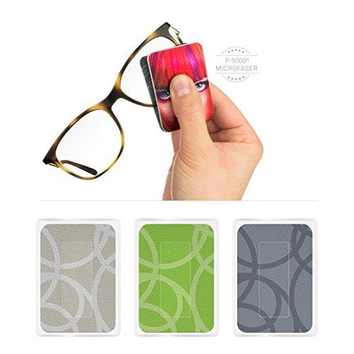 POLYCLEAN 3X PocketCleaner® Brillenreiniger – Praktisches Brillenputztuch und Display Reinigungstuch – Microfasertuch Made in Germany (12x4 cm, 3 Stück, Circles)