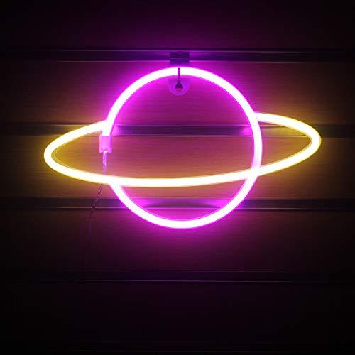 Rosa Gelb Planet Leuchtreklamen Led Neon Wandschild Hängende Neonlichter Planet Kinder Nachtlampe USB/Batterie Neonlicht für Zimmer Wand Kinder Schlafzimmer Strand Hochzeitsdekor (11,8 '' × 7,1 '')