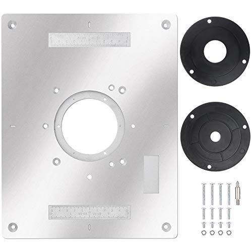 PIAOPIAONIU 1 Pcs Aluminum Router Table Insert Plate for Popular Trimmers Routers DIY Woodworking with Rings and Screws for Woodworking Benches Router Table Plate Mounting Base Plate