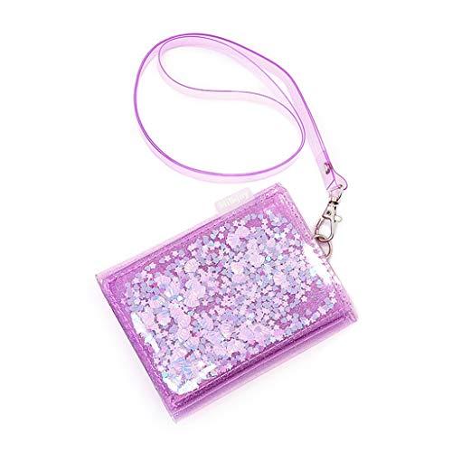 JERKKY portemonnee mode PVC kleine portemonnee dames portemonnee korte portefeuille creditcards met koord violet