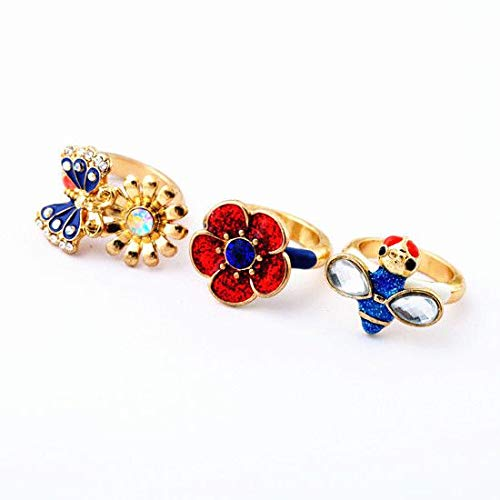RVXZV Accesorios de Moda Multi Color Oil Ladyfly Small Flower Ring Girls Sweet Tricyclic Set of Ring Glitter Jewelry