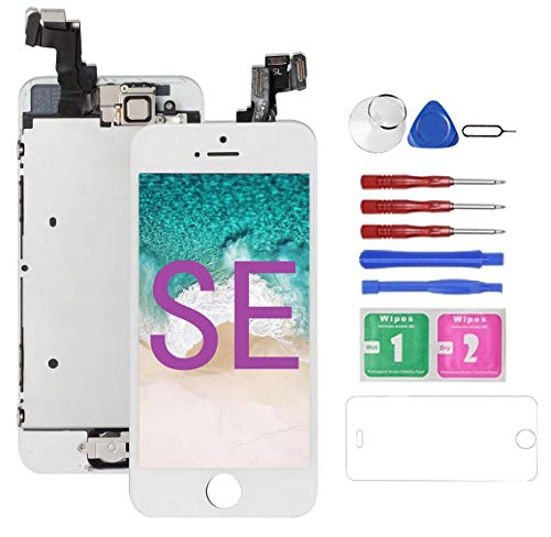 Mobkitfp for iPhone SE Screen Replacement with Camera White for A1662,A1723,A1724, Compatible with iPhone 5SE Screen Replacement Digitizer LCD Touch Display, Pre-Assembled with Camera, Ear Speaker