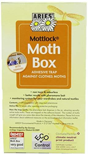 ARIES Mottlock Motten Box – Mottenfalle für Kleidermotten – Klebefalle für Befallsermittlung und nachhaltiger Mottenschutz für den Kleiderschrank – ungiftig und geruchlos