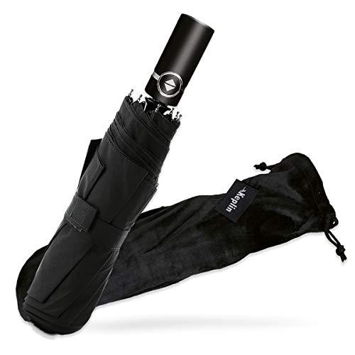 Keplin Travel Umbrella With Velvet Case- Windproof Compact Black Umbrella...
