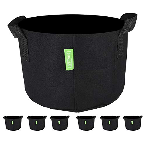 6-Pack 1 Gallon Heavy Duty Grow Bags , Black Aeration Fabric Pots with Handles , Indoor & Outdoor Grow Containers for Nursery Garden and Planting with Vegetables & Fruits