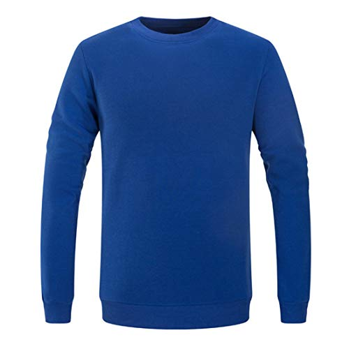 Men Pullovers Long-Sleeve Round Neck Solid Color T-Shirt Comfortable Tops Casual Boutique Sweatshirt Fitness Jogging Breathable All-Match Sportswear .B-Blue L