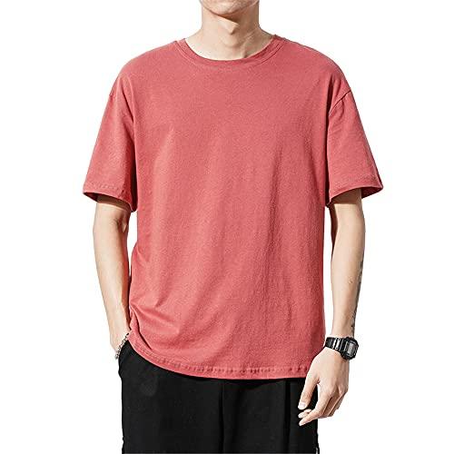 T-Shirt Hombre Básica Verano Cuello Redondo Hombre Shirt Transpirable Color Sólido Cómoda Manga Corta Hombre Ropa De Calle Tendencia Suelta Playa De Arena Hombre Shirt Ocio C-Red XXL