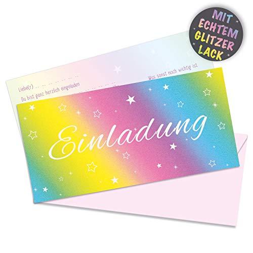 10 x Glitzer Einladungskarten von Urdays mit passenden Umschlägen | vorgedruckte, bunte Regenbogen Geburtstagskarten mit echtem Glitzer | Rainbow Design mit Sternen Glitter Effekt für Geburtstag