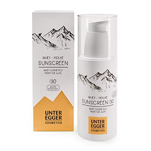Natürliche Sonnencreme mit Anti-Aging Wirkung von Unteregger Cosmetics | Antioxidantien und beruhigenden Inhaltsstoffe für empfindliche Haut | Ohne Nanopartikel und Mikroplastik | 150 ml