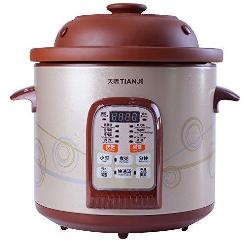 TianJi Slow Cooker Digital Multi-Functional Rice Cooker Programmable Cooker Purple Clay Stew Pot Healthy Soup Cooker DGD40-40SWD,4L