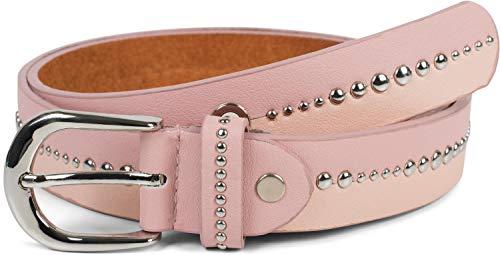 styleBREAKER cinturón de mujer bicolor con remaches redondos, cinturón «vintage» con remaches, acortable 03010095, tamaño:85cm, color:Rosa (Ropa)
