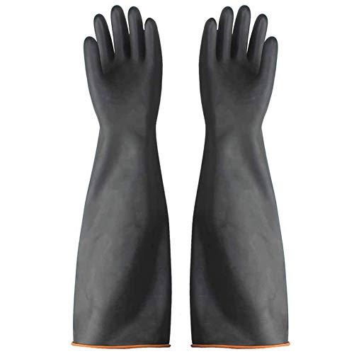 Athemeet Handschuhe Säurefest Lang,Arbeitshandschuhe,Chemische Handschuhe Schwarz,Säure-und Alkalibeständigkeit Handschuhe 1 Paar 55cm