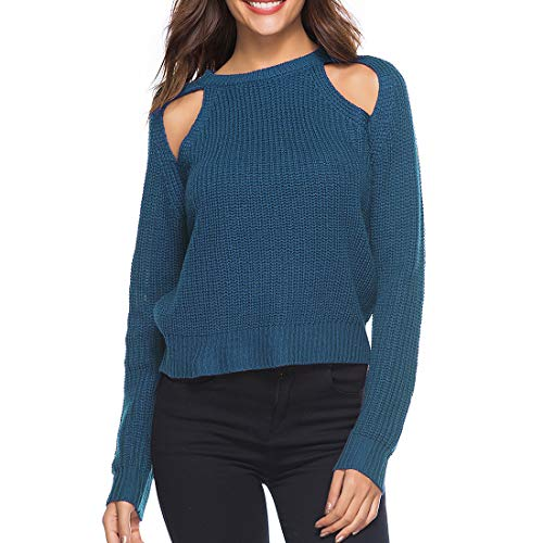 ZCZH Women Sweater Long Sleeve Loose Jumper Casual Solid Color Round Neck Ribbed Knit Jumper Ladies Leisure Strapless Knit Pullover Fashion Loose Chunky Knit Sweater T Shirts Tops L