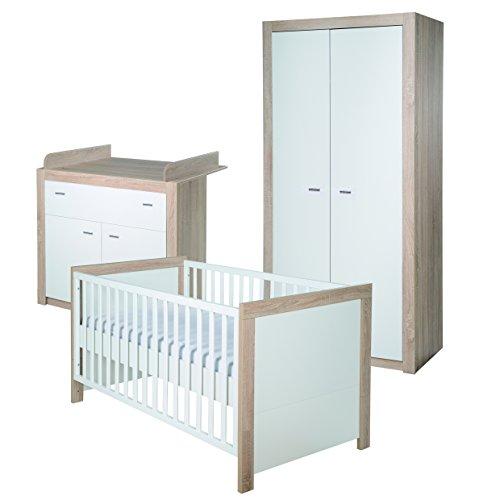 roba Komplett-Kinderzimmer 'Leni 2', Babyzimmer Set, inklusive Kombi Kinderbett 70 x 140 cm, Wickelkommode & 2-türigem Kleiderschrank, weiß/Eiche sägerau