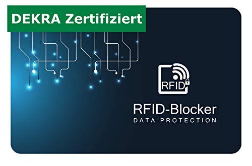 RFID Blocker Karte | DEKRA Zertifiziert | Schutz vor Datendiebstahl | NFC Störsender | Neueste Technologie | Ultra dünnes Design | Sicherheit im Portemonnaie
