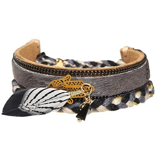 Bracelet Massai en corde et chaine or tressé