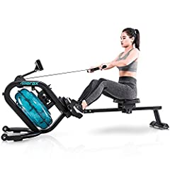 【Stronger Resistance Adjustment】Sleek and elegant in design with the dashing blue, Merax water rower is highly refined with solid steel construction for steady performance and durability, which supports up to 330 LBS. Unique inclined water tank ensur...