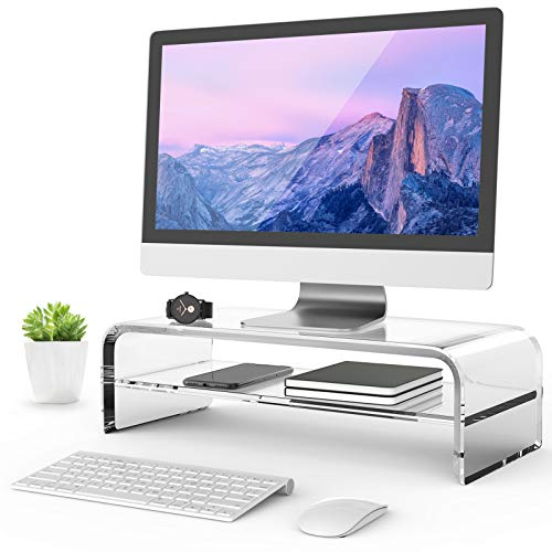 MaxGear 2-Tier Clear Acrylic Monitor Stand, Computer Monitor Stand Riser for Home Office Business with Sturdy Platform, PC Desk Stand for Keyboard Storage & Multi-Media Laptop Printer, 16.5 inches
