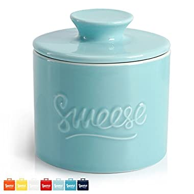 Sweese Porcelain Butter Keeper Crock - French Butter Dish - No More Hard Butter - Perfect Spreadable Consistency, Turquoise
