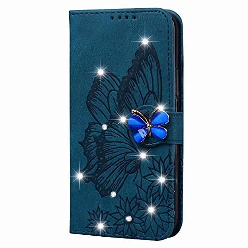 Samsung Galaxy A42 5G Case, Glitter Glossy Butterfly PU Leather Gems Bling Diamond Buckle Chain Shock-Absorption Slim Flip Folio Wallet Phone Case with Card Holder Kickstand Magnetic Closure blue