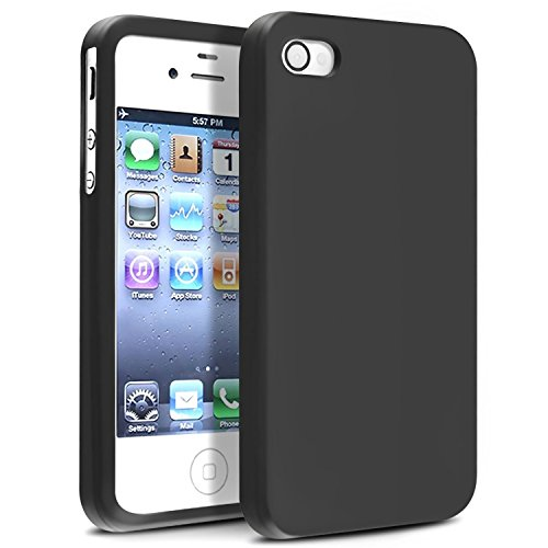 Compatible With Apple iPhone 4 4G Black Silicone Rubber Soft Case