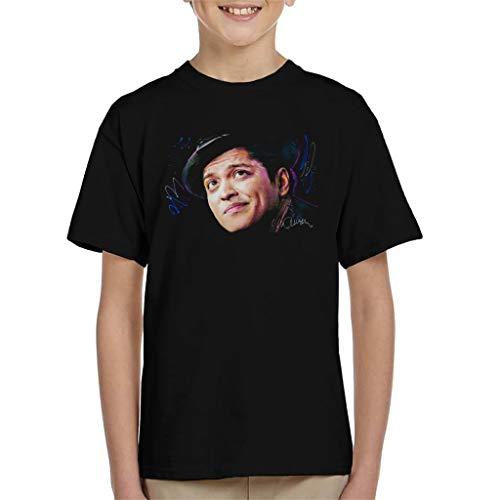 VINTRO Bruno Mars - Camiseta para niños con diseño de sombrero de marzo original por Sidney Maurer Negro Negro ( 7 años