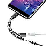 USB C to 3.5mm Headphone Jack Adapter, 2-in-1 USB C 3.0 Charging Port to Aux Audio Jack high Resolution DAC and Fast Charging dongle Cable,Multifunction Connector Adapter (Black)