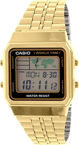 CASIO Men's Digital World TIME A500WGA-1DF Stainless Steel Watch