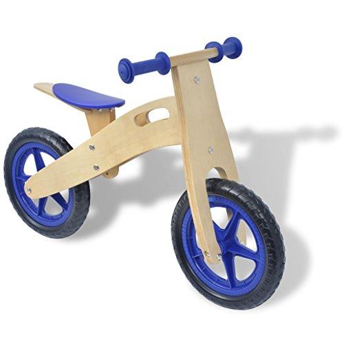 FESTNIGHT Bici Pedali Legno/Bicicletta Senza Pedali Blu in Legno