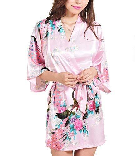 Bata tipo kimono corto para mujer, diseño de pavo real y flores, ropa de dormir hecha de seda Rosa rosa M