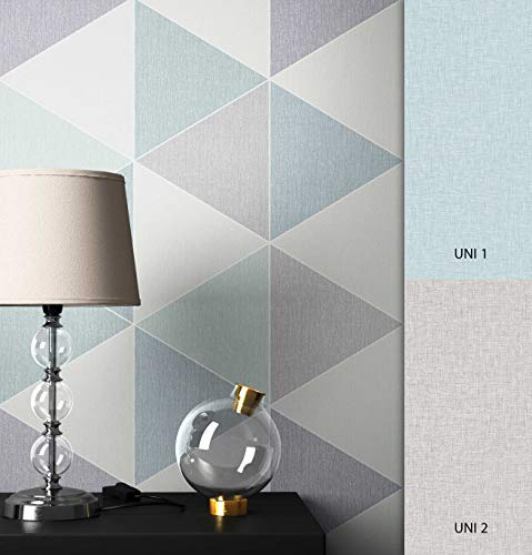 NEWROOM Tapete grafisch türkis Dreiecke Retro Papiertapete grau Papier Tapete Geometrisch inkl. Tapezier Ratgeber ǀ Grafik