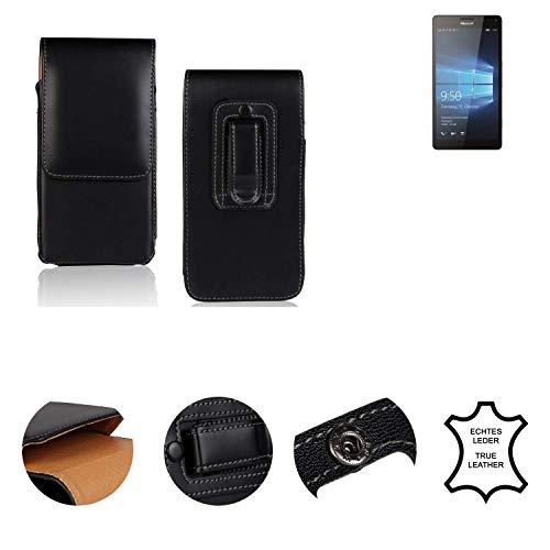 K-S-Trade® Holster Gürtel Tasche Für Microsoft Lumia 950 XL Dual SIM Handy Hülle Leder Schwarz, 1x