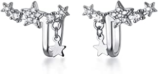Sparkly Star CZ Ear Cuff Wrap Earrings S925 Sterling Silver Dainty Crystal Rhinestone Clip On Climber Crawler Huggie Hoop ...