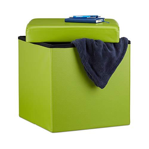 Relaxdays 10019043_53 Sgabello, Coperchio, Pouf Contenitore, Poggiapiedi, in finta pelle, H x L x P: 38 x 38 x 38 cm ca. Verde, Tessuto