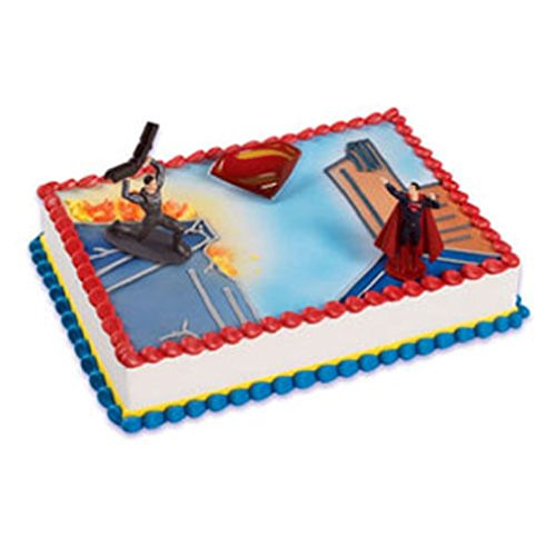 SUPERMAN MAN OF STEEL CAKE DECORATING KIT Topper Decoration Party Supplies set