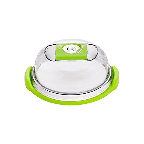 vacSy Vakuum Brotbox Käseglocke Kuchenvitrine Tortenhaube aus Kunststoff - 1,6 Liter Volumen (Rund)