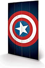 Pyramid International Cuadro Decorativo Marvel Comics Escudo Captain America, Madera, Multicolor, 45 x 76 x 1.3 cm