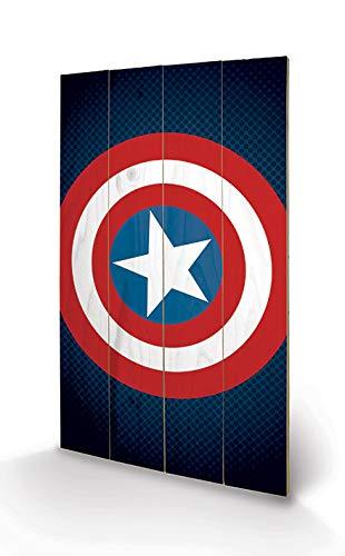 Pyramid International Cuadro Decorativo Marvel Comics Escudo Captain America, Madera, Multicolor, 45 x 76 x 1.3 cm