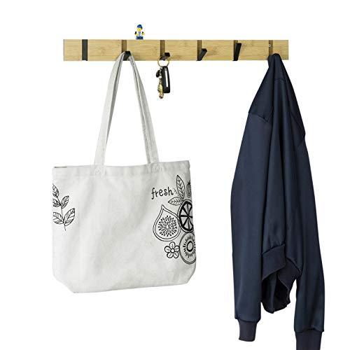 SoBuy FHK15-N Kapstok met 6 uitklapbare haken | Bamboe