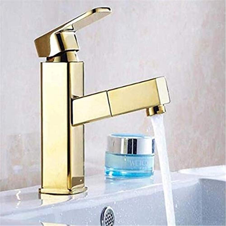 Modern Hei Und Kalt Vintage überzugarmaturen Waschtischmischer Deck Montiert Golden Finish Ziehen Sie Badezimmer-Wasserhahn Heraus