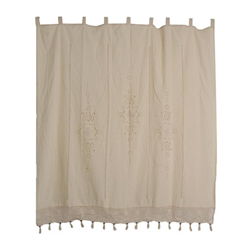 joyMerit Country Lace Crochet Window Cortina Blackout Drape Panel Tab Top - Beige, 180x180cm