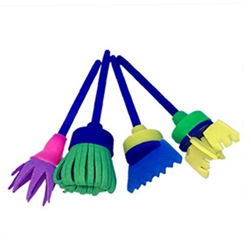 Cepillos De Pintura Para Niños Aprendizaje Mini Esponja Cepillos De Pintura Del Arte Del Cepillo Del Sistema De Espuma Niños Pincel Set 1 (4pcs)