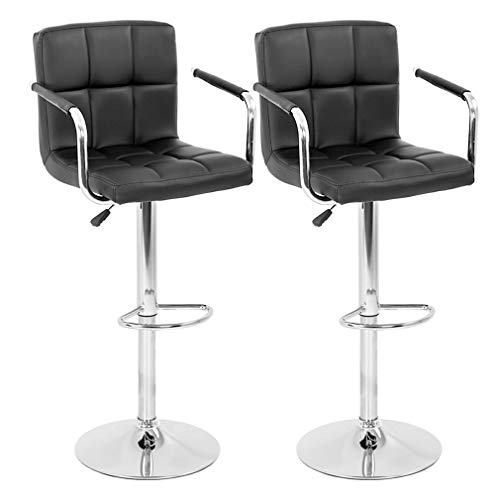 BestOffice Modern Bar Stool Set of 2 Barstools Armrest Height Adjustable Counter Stools Bar Chairs Swivel Bar Stool PU Leather Hydraulic Dining Room Chairs Home Kitchen Stools (Black)