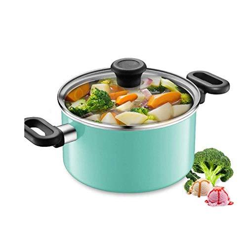Gamvdout Cacerola con tapa de cristal templado para lavavajillas, apta para arroz, cocina de gas, olla de sopa, olla de sopa (color: verde)