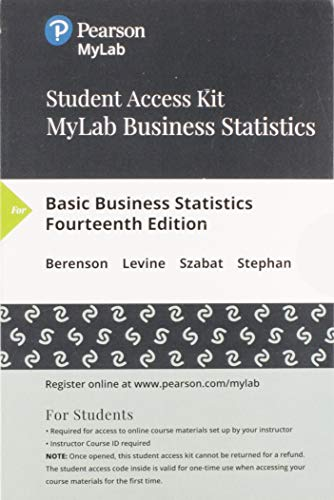 MyLab Statistics with Pearson eText -- 24 Month Standalone Access Card -- for Basic Business Statistics (14th Edition)